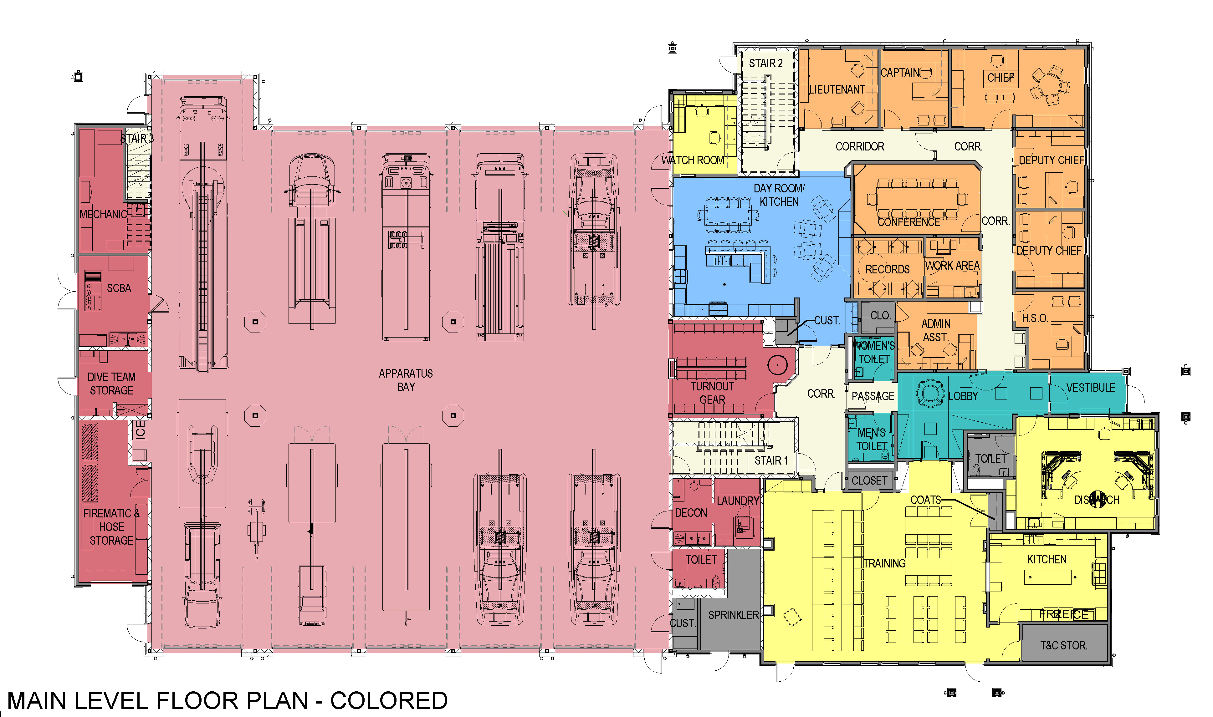 Carver FD - First Floor Plan - Colored a